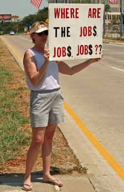 Protester calling for jobs