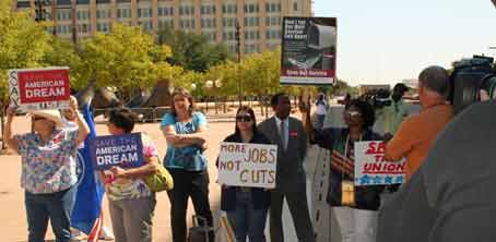 rallyers at City Hall in Dallas