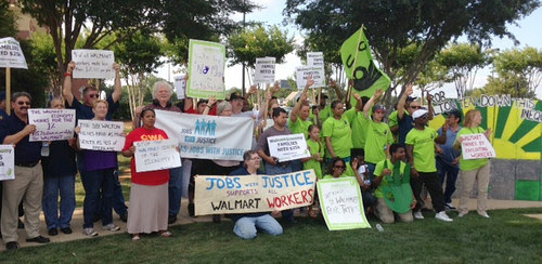 CWA members rallied with Wal Mart workers